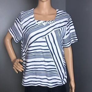 Alfred dunner Top Blue and White Size PM